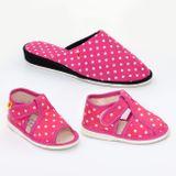 Dámske pantofle růžové tečky