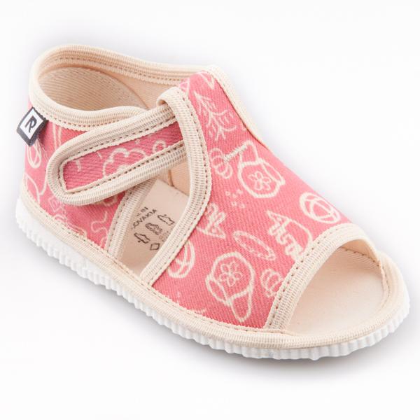 Dětská obuv bačkůrky s otevřenou špičkou pejsek a kočička růžová ... 7383b47dda