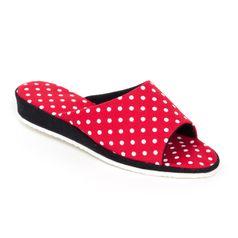 Dámske pantofle červené tečky