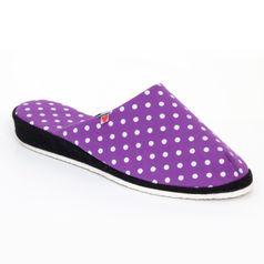Dámske pantofle fialové tečky