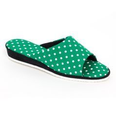 Dámske pantofle zelené tečky