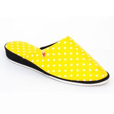 Dámske pantofle žlouté tečky