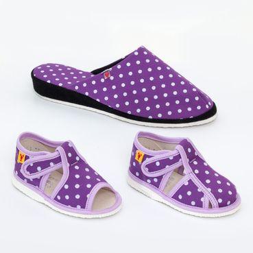 Rodinné balení  -   dámske a dětské bačkůrky fialové tečky