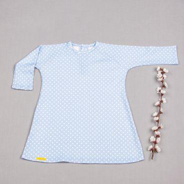 Šaty bleděmodrý puntík GOTS