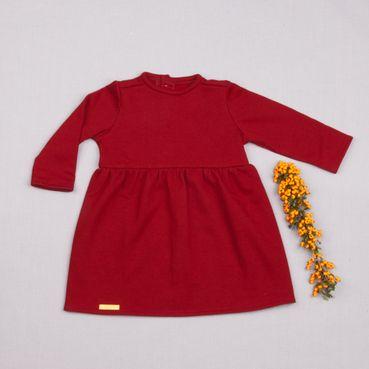 Šaty tmavě červené řasené GOTS - zateplené