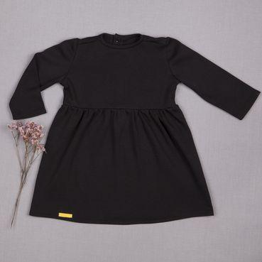 Šaty černé řasené GOTS