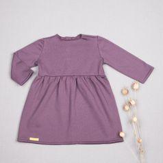 Šaty fialové řasené GOTS - zateplené