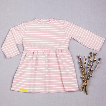 Šaty růžový proužek řasené GOTS