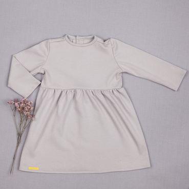 Šaty šedé řasené GOTS