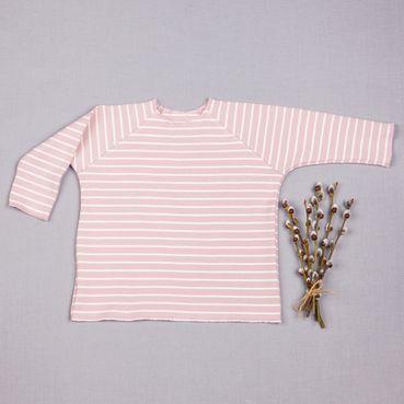 Tričko růžový proužek dlouhy rukáv - GOTS