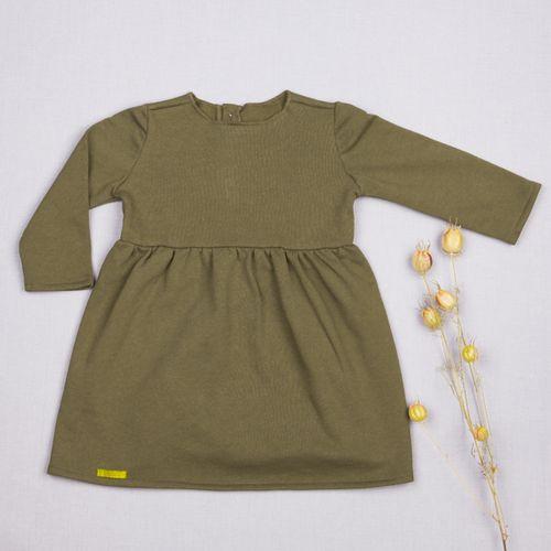 Šaty zelené řasené GOTS - zateplené